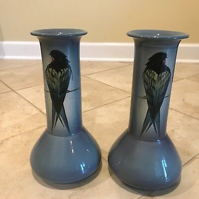 Pair of Antique Ault England Art Pottery Blue Bird Vases