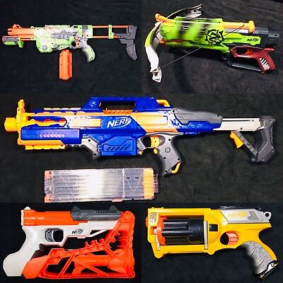 5 Nerf Gun Blaster Lot Bundle  N-Strike Rapidstrike CS-18, Praxis, Sharpfire   B