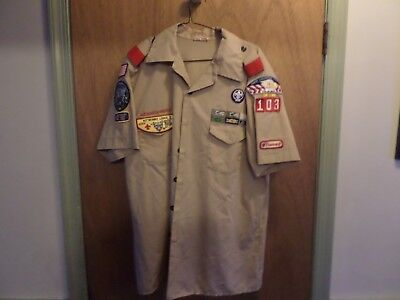 BOY SCOUTS OF AMERICA, SHIRT, SZ  LARGE, Beige, BSA, Short Sleeve, Patches