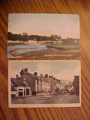 2 Old Colour Printed Postcard - Rhuddlan Castle Fire Station Post Office 1905