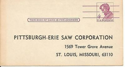 Pittsburgh-Erie Saw Corp PESCO 1960's Salesman Time Card 4 Cent Stamped Postcard