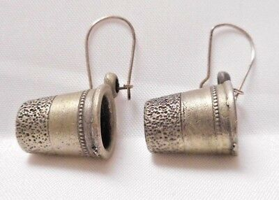 Vintage Jewelry Pewter Thimble Earrings wire Sewing Quilter #8203 Collectible