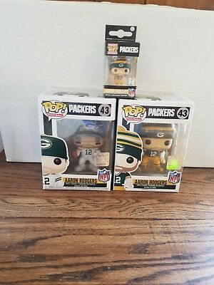 Lot of 3 Funko Pop! Sports: NFL Aaron Rodgers Action Figure White & Green Jersey