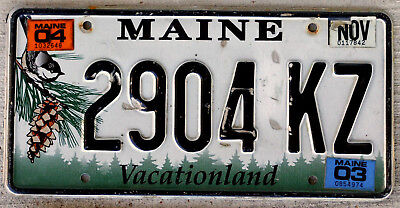 """Maine """"Chickadee and Pine-Cone"""" License Plate with a 2003 Sticker"""