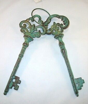 Set of 2 Large Rustic Cast Iron Keys on Ring Skeleton Antique Vintage Style 12""