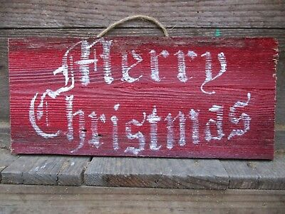 primitive merry christmas old time font vintage antique weathered wood sign