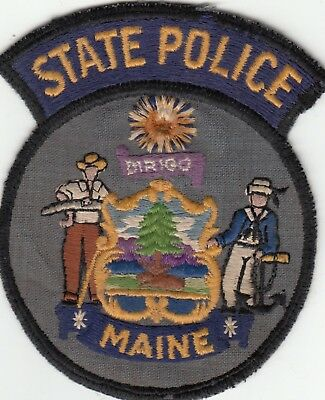 Vintage Maine State Police Shoulder Patch Me Cheesecloth Backing