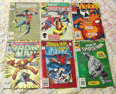 Lot of 6 Marvel Comic Books Late 80s early 90s Web of Spider Man Venom Iron Man