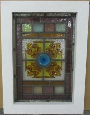 "VICTORIAN ENGLISH LEADED STAINED GLASS WINDOW Hand Painted Design 12"" x 16.5"""