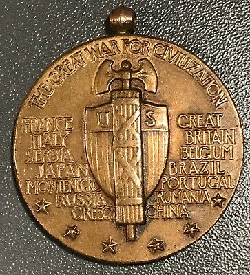 Antique Wwi The Great War For Civilization Us Victory Medal Rare