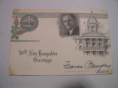New Hampshire Governor Signed Card Francis Murphy 1930's