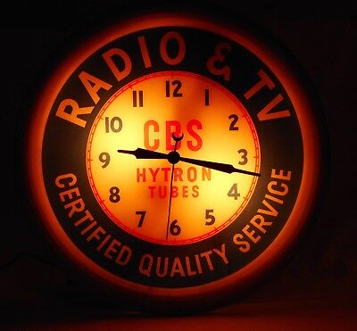 Vintage Lighted CBS Clock And Tube Radio Advertising Sign~Original Working Clock