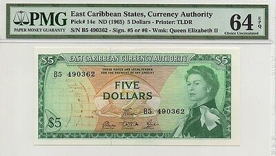 EAST CARIBBEAN STATES ND (1965) $5 FIVE DOLLAR NOTE, P14e, PMG 64 EPQ