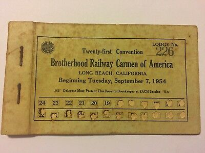 Brotherhood Railway Carmen Of America Delegate Booklet 1954