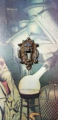 Antique Keyhole Escutcheon Key Door Victorian Steampunk Goth green man pagan