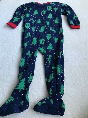 3b2a781d57 Toddler Boy Baby Gap Full Zip Fleece Footed Pajamas Christmas Holiday 3T