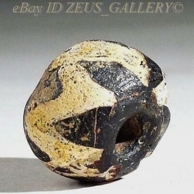 Ancient Glass Bead Round Black, White Zig-Zag trailing Ex Bonhams London UK 2004
