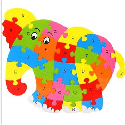 Wooden Blocks Kid Child Educational Alphabet Puzzle Jigsaw Toy ~Elephant♫