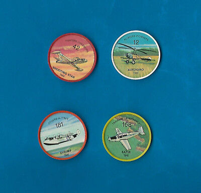 1960's Jello Airplane Coins Lot of 4  #s 12/42/168/181  NM-MT