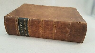 Antique Leather Book Latin-English Lexicon ~ Andrews ~ New York 1851 Dictionary