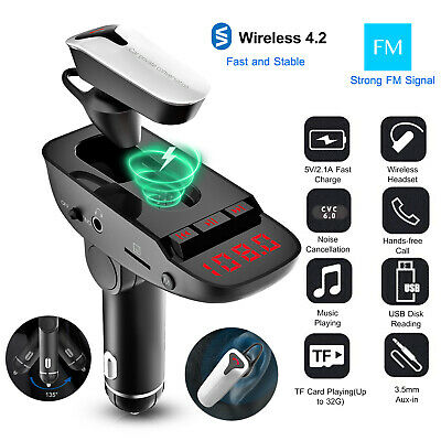 Car FM Transmitter w/ Wireless 4.2 Earphone 2 USB Charge Handsfree MP3 Player