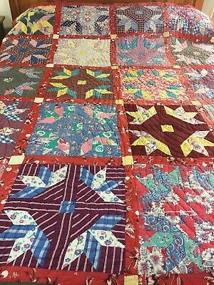 "Fabulous Bright Vintage Feed Sack Goose Tracks Quilt  65"" X 84"""
