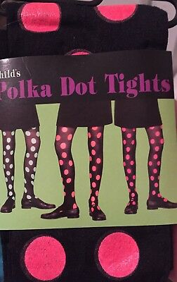 TIGHTS POLKA DOT  Black/Neon Pink Size Child 7-10  NEW WITH TAG