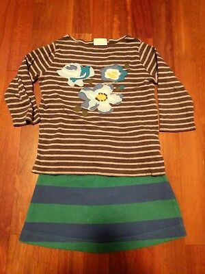 Boden 3-4 Outfit Striped Skirt And Flower Sure