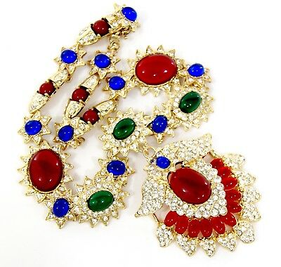 HAUTE COUTURE GRIPOIX Vtg gold ruby Crystal Rhinestone Statement Necklace $324