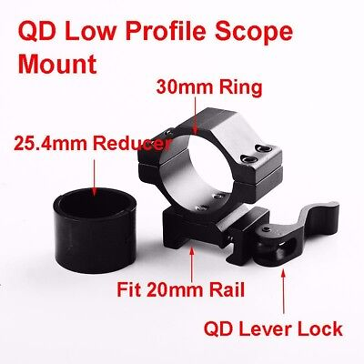 "1"" 30mm Ring QD Scope Mount Low Profile 20mm Picatinny Rail&inserts for hunting"