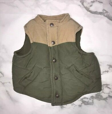 JANIE & JACK Baby Boy Size 3-6 Months Vest Puffer Quilted Green Tan Sleeveless