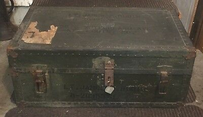 WWII named Lt US Army USAAF AAF Footlocker Trunk Chest + Tray COMPLETE