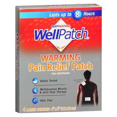 """WellPatch Warming Pain Relief Patch   4 Count Value Pack    Large Patches 5""""X4"""""""