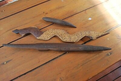 Three old aboriginal carvings snake and 2 lizards 1960s APY Lands