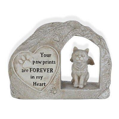 Memorial Cat Garden Statue 25cm Your Paw Prints Are Forever In My Heart
