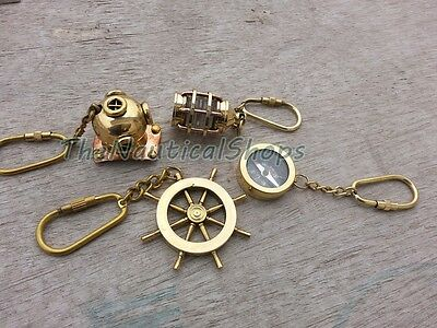 Brass Keychain Gift Set Vintage Divers Helmet Ship Lamp Wheel Nautical Compass