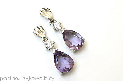 9ct White Gold Amethyst Drop Dangly Earrings Made in UK Gift Boxed
