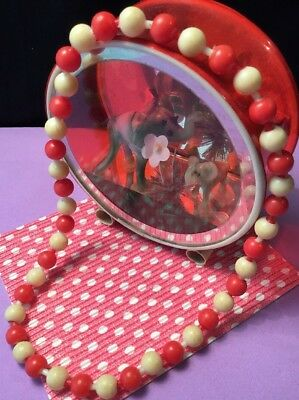 Vintage 1950s Carnival prize kitsch red ivory Celluloid Pop Bead Necklace