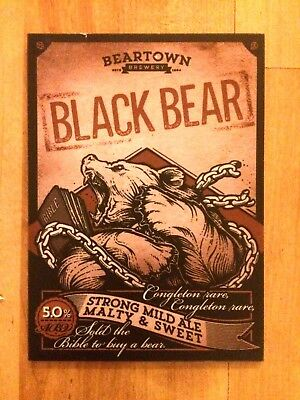 Black Bear Real Ale Beer Pump Clip Beartown Brewery Cheshire