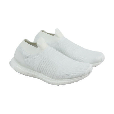 Adidas Ultraboost Laceless Mens White Textile Athletic Slip On Running Shoes