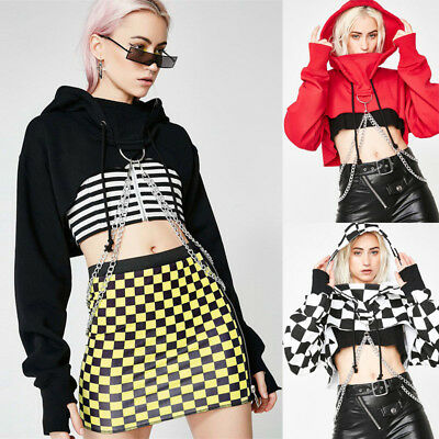 Women Gothic Punk Hoodie Sweatshirt Jumper Sweater Crop Top Casual Pullover Tops
