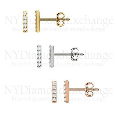0.15CT Brilliant Round Created Diamond Bar Earrings 14K Solid Gold Mini Studs