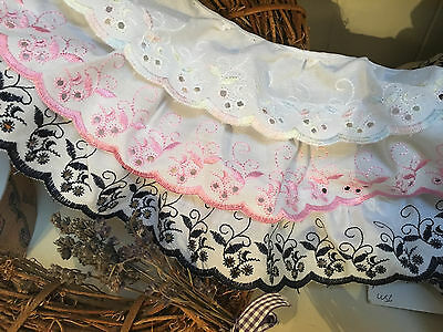 "3""/7cm White/TwoTone Cotton Broderie Anglaise Gathered Lace *FREE 1st CLASS*"