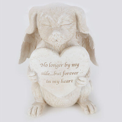 Pet Memorial Plaque Angel Dog Statue No Longer By My Side Forever In My Heart