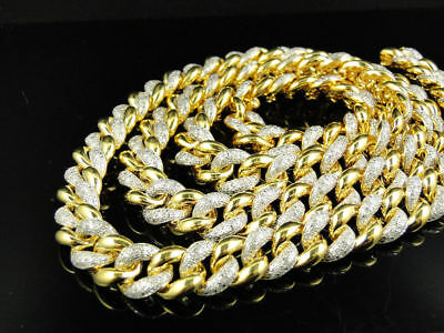 8Ct Round Cut Diamond Miami Cuban Link 11MM Chain Necklace 14K Yellow Gold Over