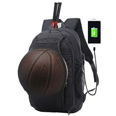 Basketball Backpack USB Laptop Bag Schoolbag Canvas Waterproof Sport Ball Net US