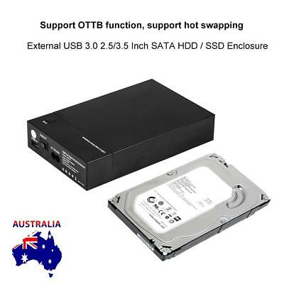 "USB 3.0 External 2.5"" 3.5"" SATA Hard Drive Enclosure SSD HDD Disk Case Cover New"