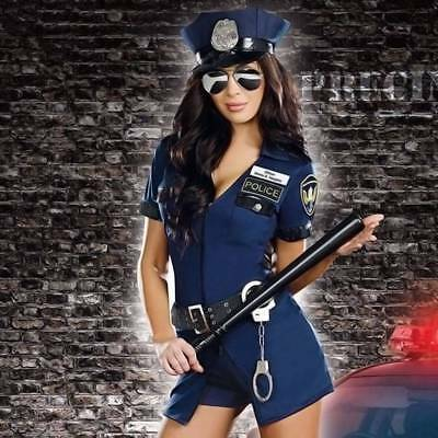 Halloween Adult Women Sexy Police Officer Cop Complete Outfit Cosplay Props