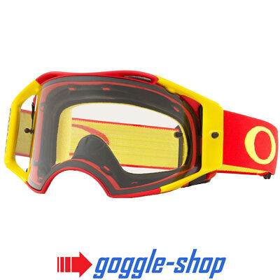 Oakley Airbrake Motocross Mx Enduro Bike Goggles - Red Yellow With Clear Lens