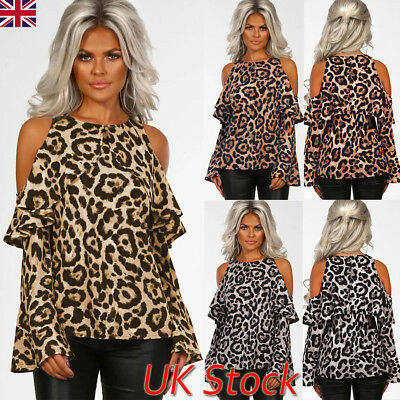 UK Womens Leopard Print Bell Sleeve Shirt Ladies Cold Shoulder Ruffle Top Blouse